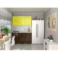 """Кухонный гарнитур """"Бостон"""" желтый глянец/темный шоколад"""