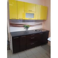 """Кухонный гарнитур """"Бостон"""" желтый глянец/темный шоколад глянец"""